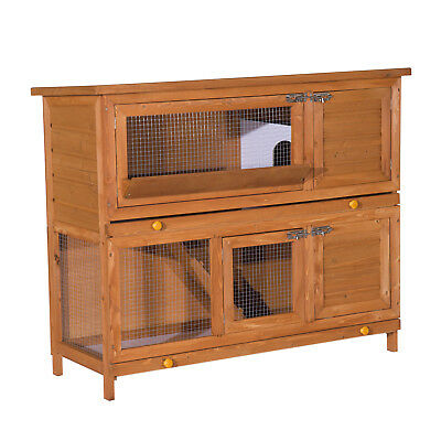 48-Inch Large Wooden Pet Rabbit Hutch Run Hutches Cage Guinea Home