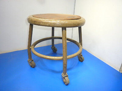 """RARE Vintage Royal Industrial Metal Stool 1950's with wheels,14"""" tall,USED"""