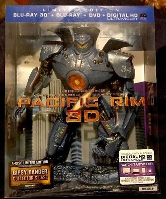 PACIFIC RIM Limited Edition 3D Blu-ray/Dvd 2013 4-Disc Collector's Case Oop RARE