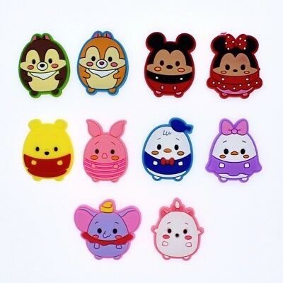 10Pcs Cute Round Cartoon Figures PVC Shoe Charms Fit Hole Cros Bracelets