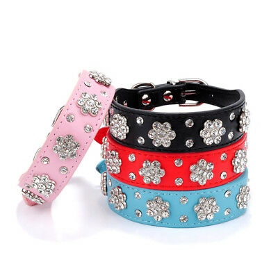 PU Leather Pet Small Dog Cat Collars Necklace Bling Rhinestone Flower Studded