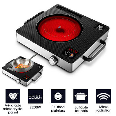 Quick Heat 2200W Electric Induction Cooker Ceramic Cooktop Burner Built-in Timer