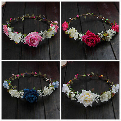 Women Wedding Flower Hair Garland Crown Headband Floral Rose Boho Floral Crown