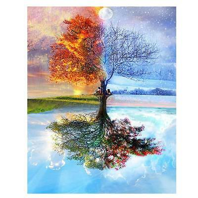 Frameless Four Seasons Tree Landscape DIY Painting By Numbers Kit Canvas Paint