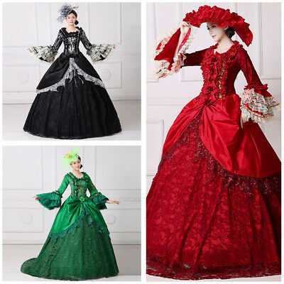 Women Halloween Dress Victorian Medieval Princess Costume Gown Marie Antoinette