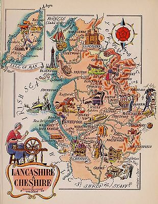 1949 Antique Cheshire England Map Lancashire England Isle Man Picture Map 5195