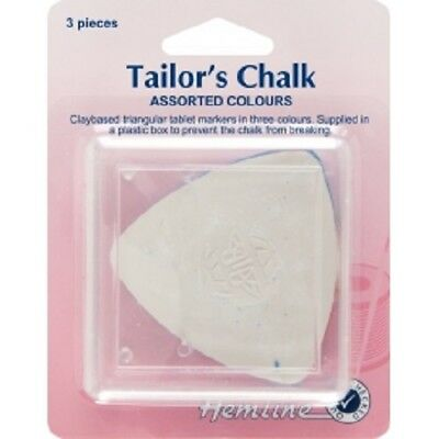 Hemline Tailors Chalk Triangle x 3 - Assorted Colours Dressmaking Fabric Marking