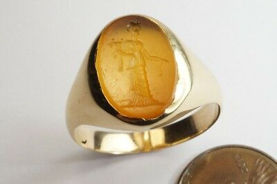 ANCIENT ROMAN AGATE INTAGLIO SEAL in ANTIQUE ENGLISH 18K GOLD SIGNET RING