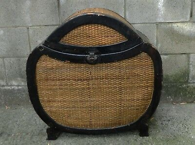 VINTAGE Antique Hand Made Rattan Cane-Timber Glory Chest