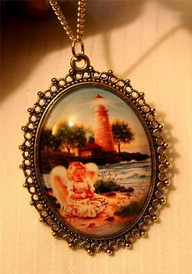 Lacy Picot Rimmed Lovelyl Angel by the Sea Beacon Lighthouse Pendant Necklace