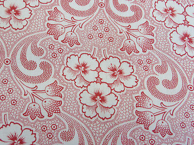 """Unused German 1920 Antique Cotton  Fabric Red Pansies Tulips 32 """" by 3.27 Yards"""
