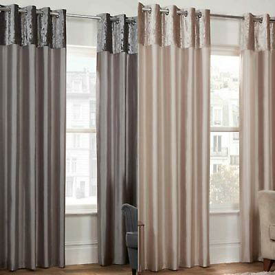 Lexie Faux Silk Eyelet Curtains Crushed Velvet Header Luxury Lined Pairs