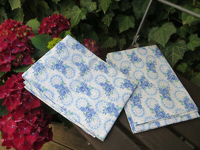 "2 Unused  Vintage  Pillowcases Shams  Cotton  Blue Floral Pattern   31"" by 30  """