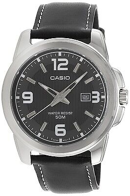 Casio MTP1314L-8A Men's Grey Dial Analog Watch Black Leather Band Large
