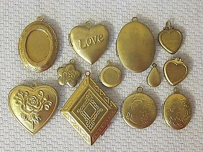 12 Vtg  & Modern Lockets Lot Brass Findings Flower Hearts Nos Pendants Charms