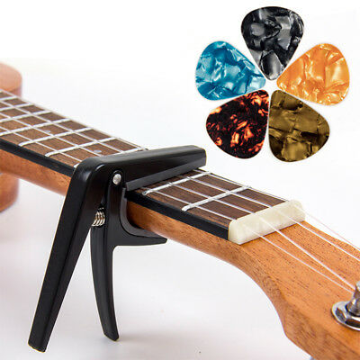 Kmise Ukulele Capo Clamp Key Uke Trigger with 5 Picks for Ukelele Guitar Parts