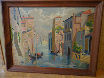 Vintage Paint by Numbers Venice Italy Scene 24 by 18 Inches PBN  Framed