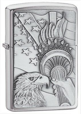 Zippo Lighter: Something Patriotic Emblem - Brushed Chrome 20895