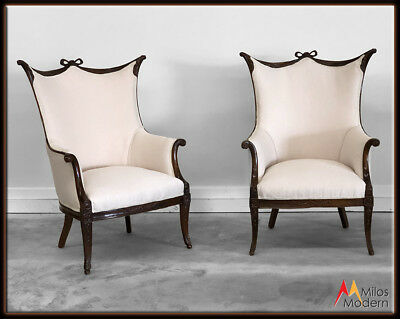 Pair of 2 Vintage 1900 Louis XV Carved Walnut Wood Chairs New Ivory Satin Fabric