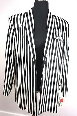 Early 80s ~ NEW WAVE B&W Striped Jacket ~ DEADSTOCK w/ Tags ~ Vintage Punk / R&R