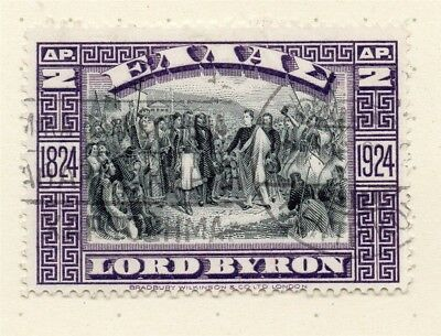Greece 1924 Byron Early Issue Fine Used 2dr. 244450