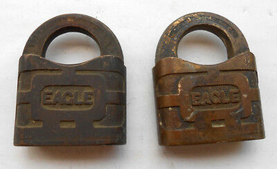(2)   Vtg Antique All Brass   EAGLE Lock Co Padlocks   From lot in picture