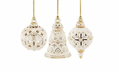 Lenox Florentine & Pearl Ornaments Set of 3 Bell, Spire, Ball