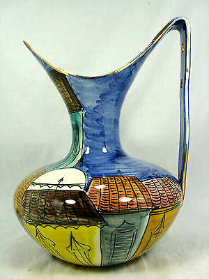 "Well shaped  60´s  Italian ""Alla Moda"" design  San Marino pottery pitcher 29 cm"