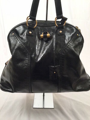 714f1cd8af8 YSL YVES SAINT LAURENT Large Black Patent Leather Muse Bag  1690 ...