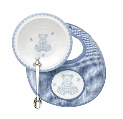 Reed & Barton 3-piece Gingham Bear Mealtime Set #2613