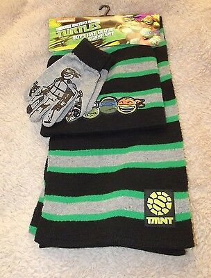 NEW Boys Teenage Mutant Ninja Turtles Hat, Glove, Scarf Set~Green~OSFM