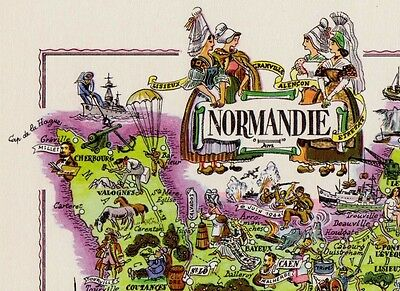 Antique NORMANDY France Map Vintage Animated France Cartoon Map Fra 5198