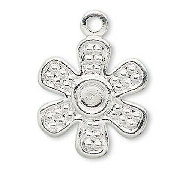 50 Silver Plated Brass 12x12mm Flat Flower Drop Charms *