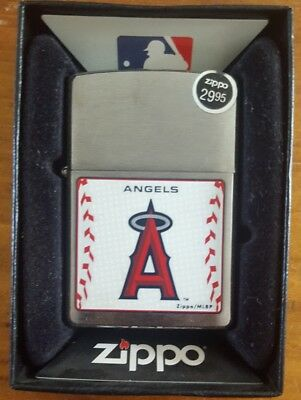 LOS ANGELES ANGELS ZIPPO LIGHTER w ORANGE SEAL BRUSHED CHROME WINDPROOF IN BOX