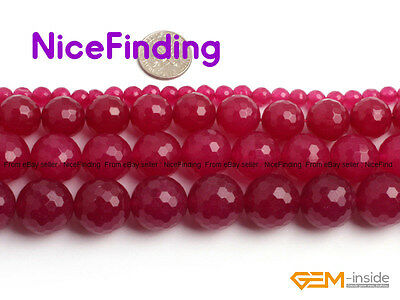 Round Faceted Smooth Plum Red Jade Stone Beads For Jewelry Making Loose Beads 15
