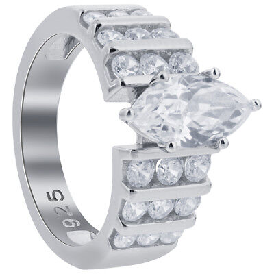925 Sterling Silver Marquise Cut Cubic Zirconia Solitaire CZ Ring Size 4 - 10