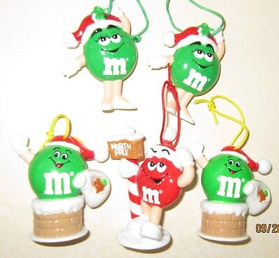 """5 M&M plain Christmas ornaments green girls chimney red north pole 2"""" VG cond #1"""