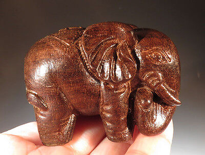 "2.4"" Fragrant Agarwood Oud Wood Heartwood Elephant Carving"