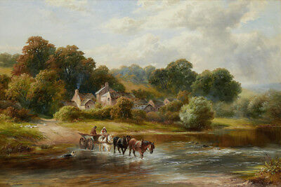 Old village Landscape Classical Oil painting Printed on canvas P1072