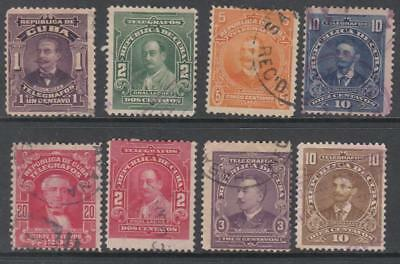Caribbean Island Telegraph Stamps 1910-11 8 diff used stamps Barefoot cv $26
