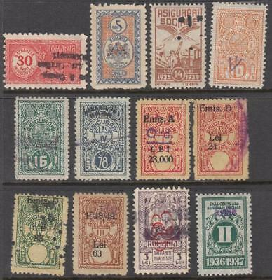 Romania Social Insurance Revenues 1913//1948 12 diff stamps Barefoot cv $38