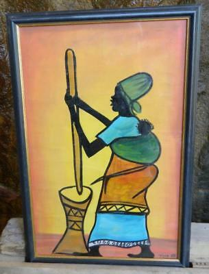 VINTAGE Original Painting African Women with her baby Signed by Artist Tima 03