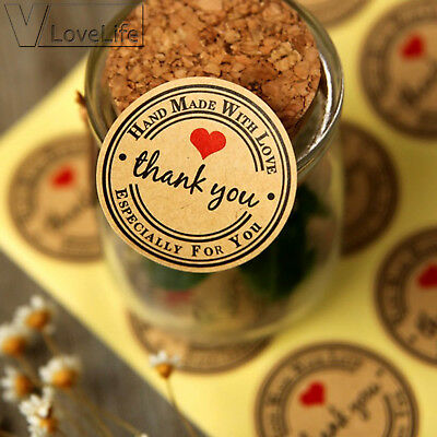 5Sheets Thank You Self Adhesive Kraft Paper Stickers Handmade Gift Stationery