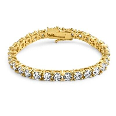 6mm Gold High End CZ Mens Iced Out Tennis Bracelet