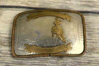 Cutting Horse Trophy Belt Buckle Nickel Silver Rodeo Cowboy Country Western VTG