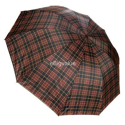 Plaid Pattern Men's Travel Rain Umbrella WindProof Compact Folding UV Umbrella