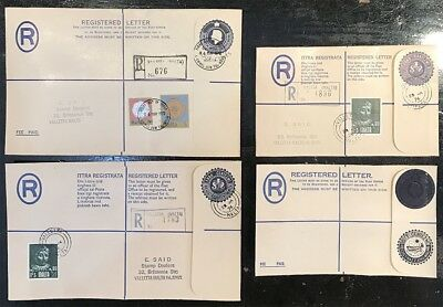 1970's Malta Stamps Registered Prepaid Stationery Covers Mint and Used Lot of 4
