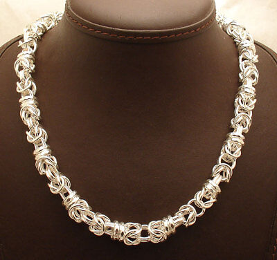 """18"""" Rolo Stationed Round Byzantine Necklace Chain Real 925 Sterling Silver"""