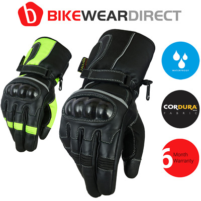 Waterproof Leather Motorbike Motorcycle Gloves Textile Black Yellow CE Armoured