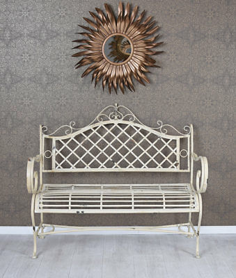 Vintage garden bench shabby chic bench antique white patio furniture metall new